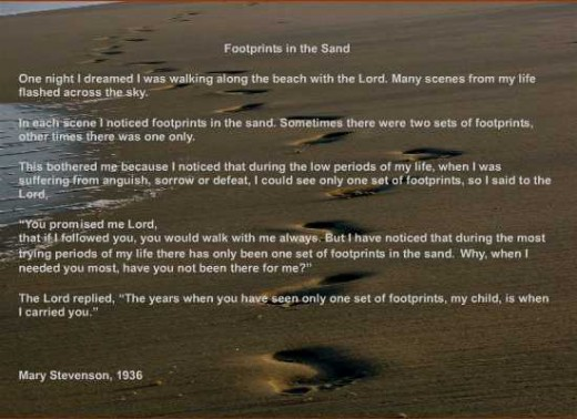 essay on footprints by margaret fishback powers 'when you saw only one set of footprints it was then that i carried you' for over thirty years these words from the poem 'footprints' have brought assurance to millions worldwide.