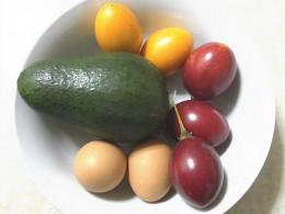 avocado, salted eggs and tamarillos