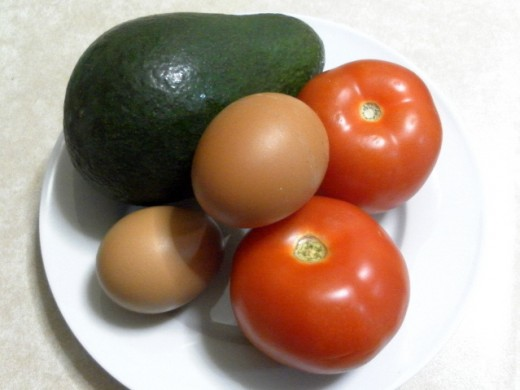 avocado, salted eggs and tomatoes
