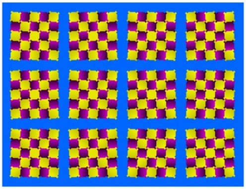Move your eyes around and you will see the boxes moving as well!