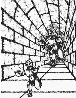 The characters in this image are actually the same size; your mind only perceives them different because of the hallway perception.