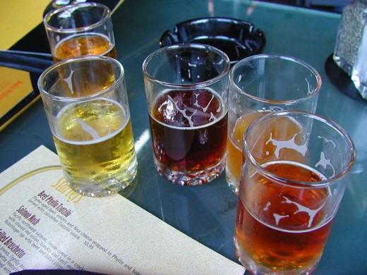 Beer tasting with several beers.