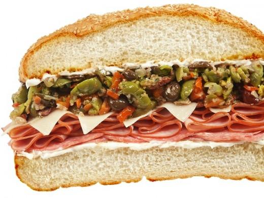 A Muffaletta bread sandwich.