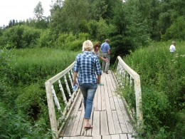 Foot Bridge on way to sacred spring in Valday District of Russia.