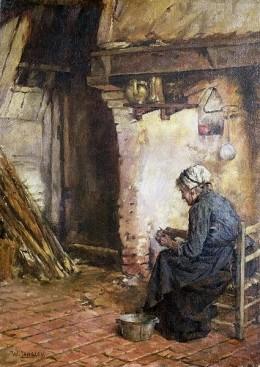 Walter Langley -Old Woman Peeling Potatoes