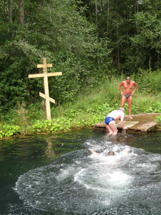 Me completing my swim across the sacred spring. (Spring located in vicinity of Valday District of Novgorod Oblast, Russia)