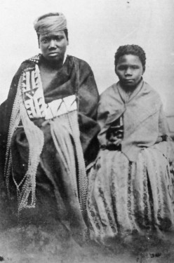 """Nongqawuse (left) and Nonkosi in a photo taken by M.H. Durney in Grahamstown in 1858. Published in Mostert's book """"Fontiers"""" for the first time."""