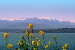 Olympic mountain range as seen from Coupeville at Ft. Casey St. Park