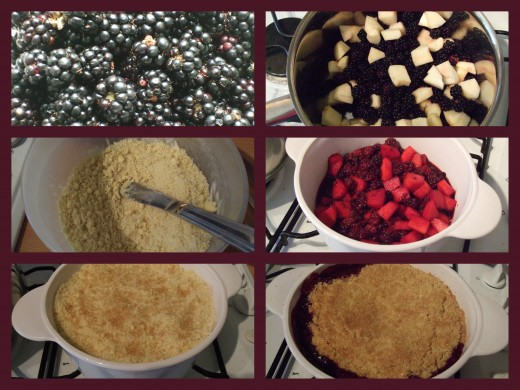 Take your blackberries and simmer with the chopped apples, mix the crumble, pour on fruit and cook.