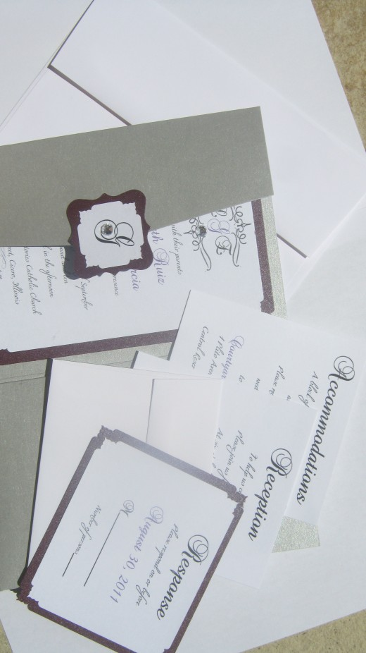 Customized Wedding Invitations and packages by Bella M Events Silver