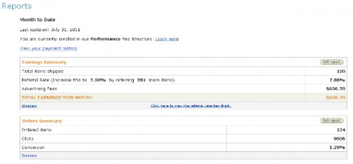 A picture of my July 2011's Amazon Associates report I shared on my blog.