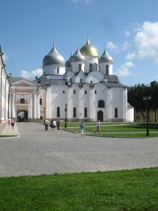 Cathedral of St. Sophia the Wisdom of God (built 1045-1050)  located inside Kremlin in Veliky Novgorod, Russia.  Erected by Prince Vladimir, this is one of Russia;s  oldest stone buildings.