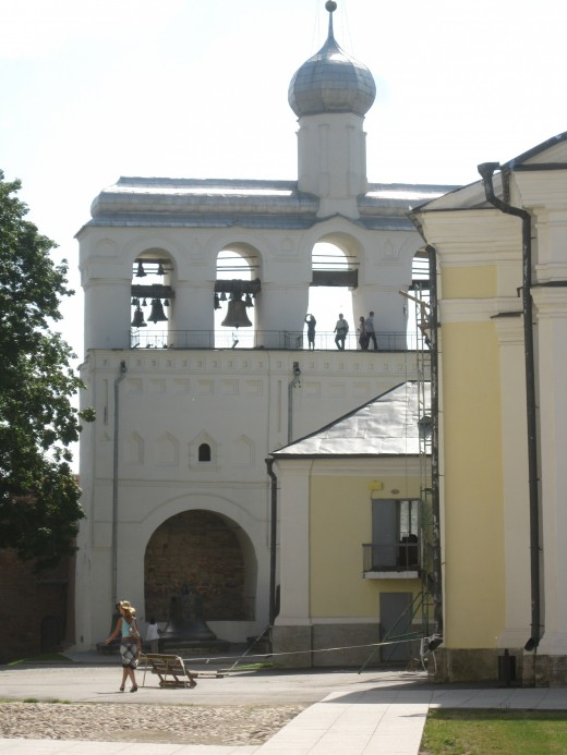 Bell tower of Cathedral of St. Sophia in Kremlin of Veliky Novgorod, Russia.
