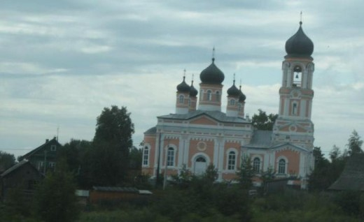 Church on road in Valday District outside of Veliky Novgorod, Russia