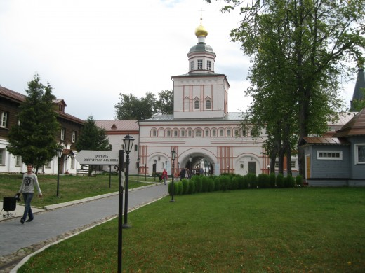 View of entrance to monastery from inside the monastery.  (Monastery in Valday District near Veliky Novgorod, Russia)
