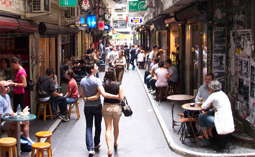 A quaint laneway of Collins Street in Melbourne CBD. These little laneways are great places to grab a quick bite or relax over a hot cup of coffee.