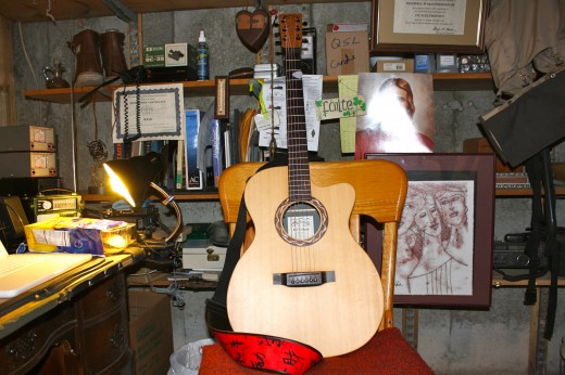 This Martin XC1T Ellipse acoustic guitar is the one I've been playing a lot lately. It has a softer sound to it compared to my McPherson MG-3.5 and the strings are lighter.