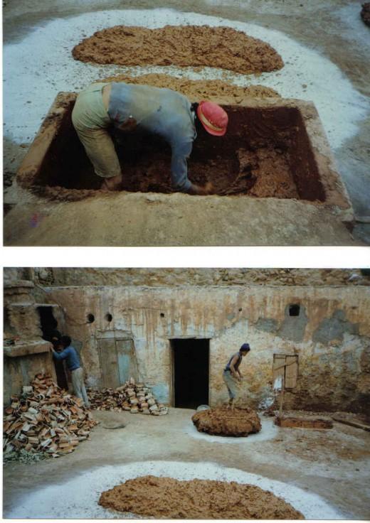 preparing clay, Morocco
