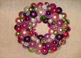 This wreath is dominated by pink and green ornaments, some of which are vintage. It won a red ribbon at the Hartford Independent Fair in Hartford, OH in 2010.