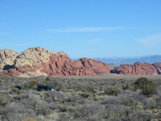 "Red Rock Canyon, located 20 miles west of the Las Vegas ""Strip""."