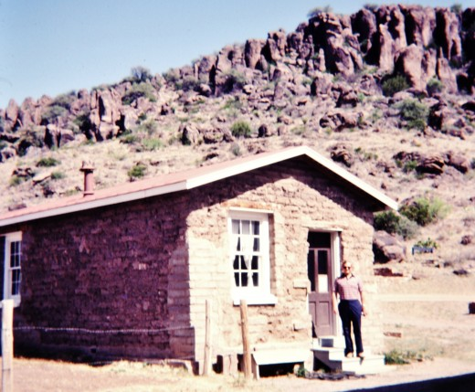 My husband viewing one of the buildings at Fort Davis
