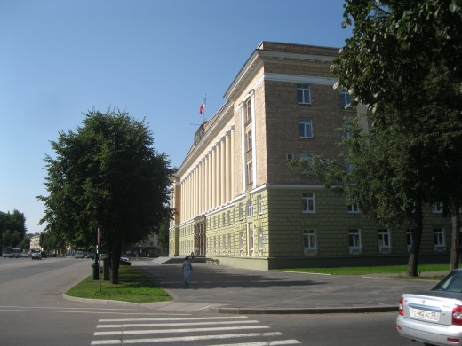 Central Administration for the Novgorod Oblast.  Building located across from entrance to Kremlin in Veliky Novgorod.