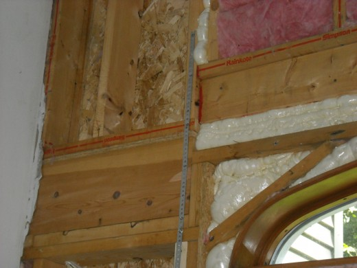 Metal strapping can be used to stiffen up an improperly framed wall.