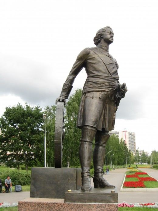 Statute of Peter the Great in park in Veliky Novgorod, Russia