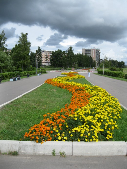 Some of the gardens in the park in Veliky Novgorod, Russia where statute of Peter the Great is located.