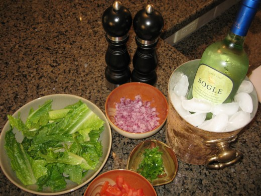 Prepare all your toppings and choose a nice crisp white wine to accompany your wraps