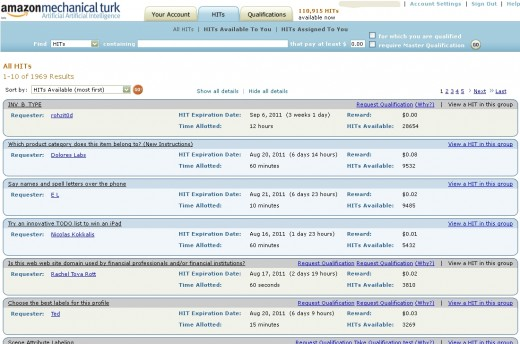 A few of the available tasks in the Mechanical Turk repository.