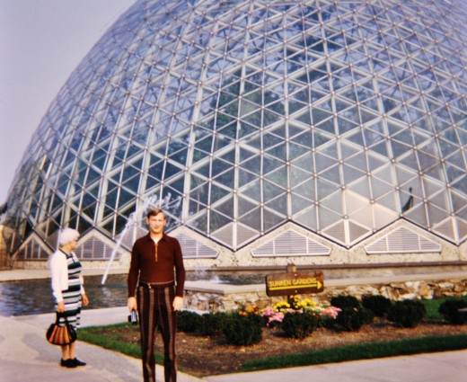 My grandmother and husband outside the Milwaukee Domes