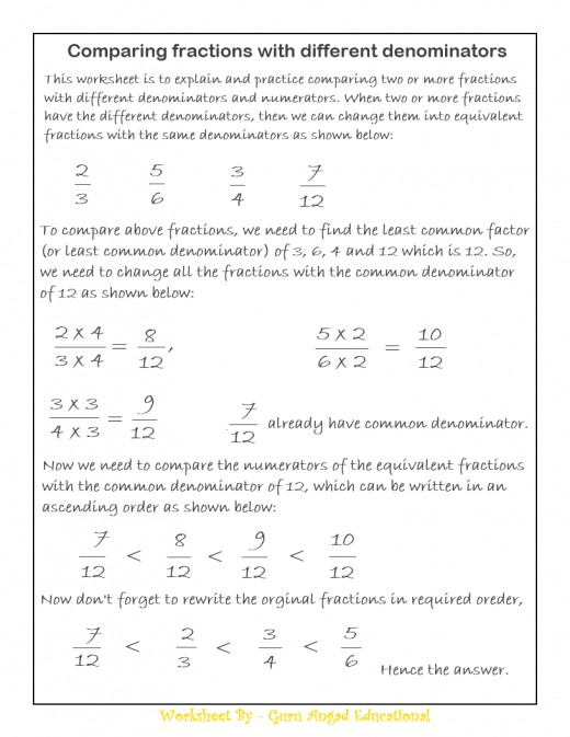 Comparing Fractions With Like Denominators Worksheet – Comparing Fractions with Like Denominators Worksheet