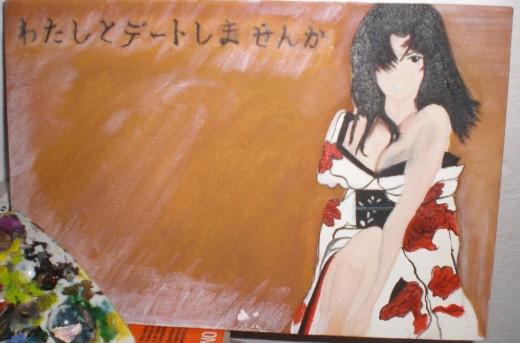 Anime girl with kimono.