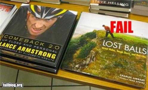 OH!  You just got taken down a peg, Mr. winner of seven consecutive Tour De France's!  Please don't kick me to death.