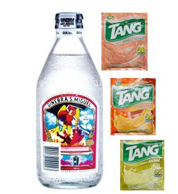 Ginebra with different flavors of powdered juice