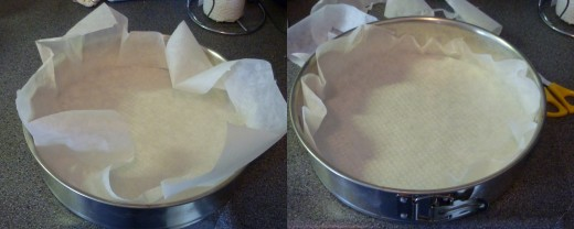 Fill the pastry mould with bakery paper. Cutting off the excess paper makes pouring layer 2 and 3 easier.