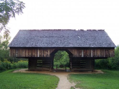 Tipton cantilever barn in Cades Cove