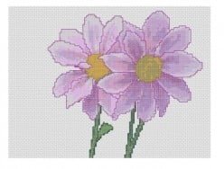 free cross stitch pattern purple flowers