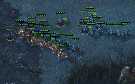 ZTP army attacking a Zerg base.