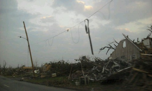 A neighborhood in Joplin, Missouri immediately following the May 22, 2011 EF5 tornado.