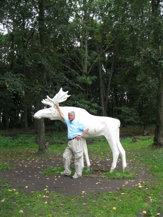 Me posing with a sculpture of a moose found in  a park near the Alexander Neviskiy Monument in Veliky Novgorod, Russia