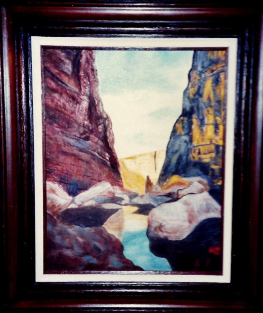 A painting that I created of Santa Elena Canyon using mostly a palette knife with acrylic paint.