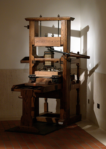 Old screw-type press, London UK.
