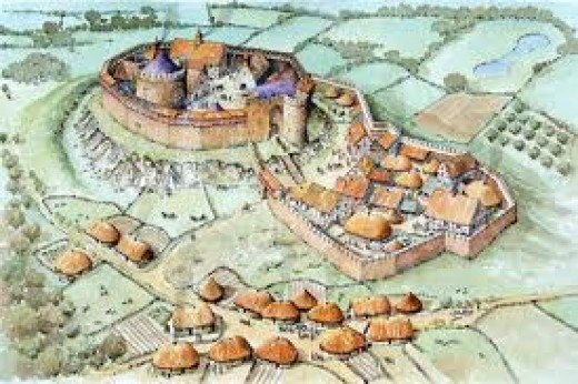 The pattern of Norman castle building differed little between from burh to land. On a - usually man-made - 'motte' or hill stood the 'keep', atound which was the outer wall, the bailey. Around a further outer wall was the moat
