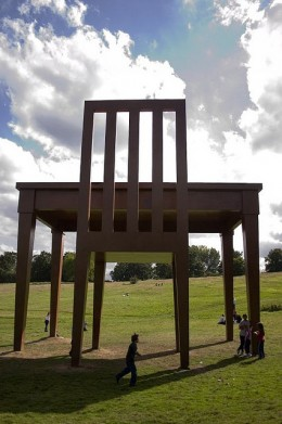 Picture of a 30-foot table and chair installation in Hampstead Heath