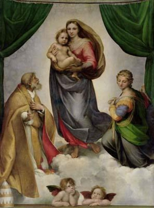 the sistine madonna by Raphael.