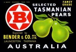 free cross stitch pattern fruit crate label Tasmanian Pears