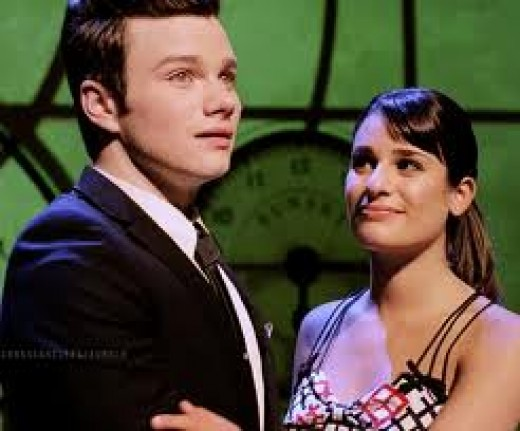 Rachel and Kurt on the Wicked stage performing No Good.