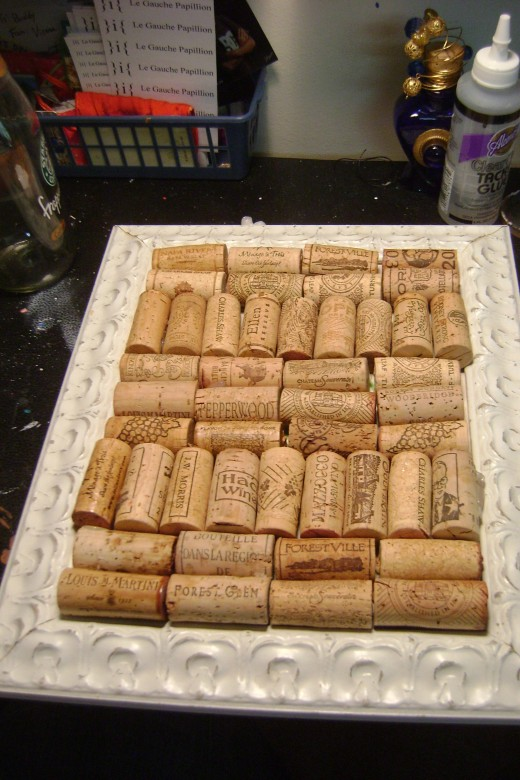 Position the corks to make sure they fit in the space